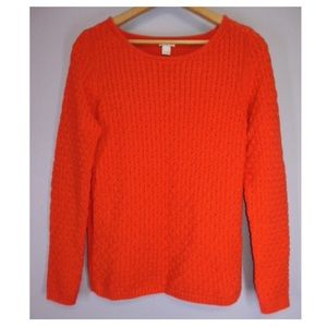 J Crew Textured Knit Scoopneck Sweater Red S